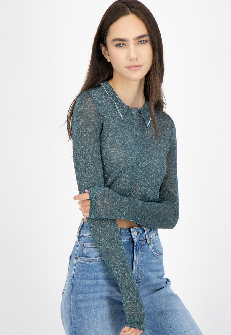 Pulover crop tricotat fin