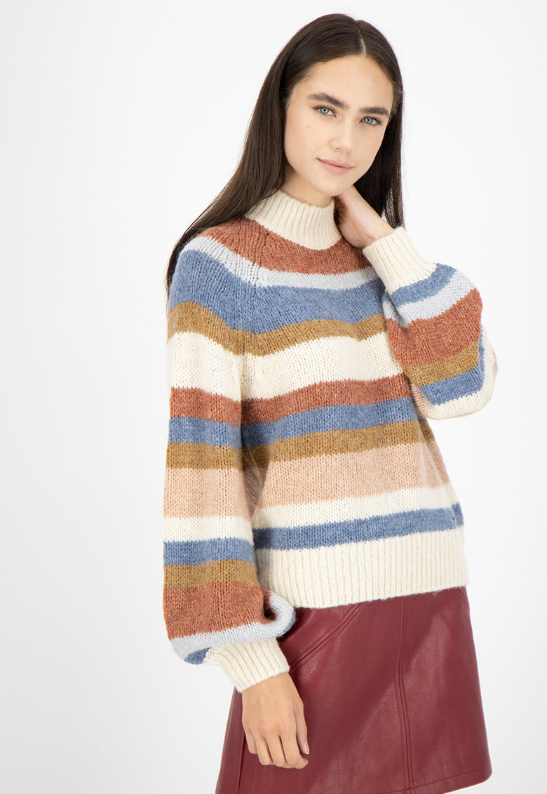 Pulover cu dungi - din amestec de lana si lana alpaca