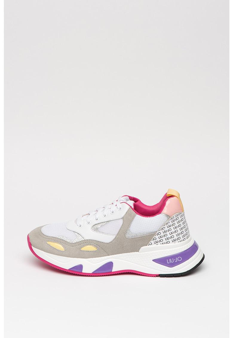 Pantofi sport cu design colorblock si garnituri de piele intoarsa Hoa 1