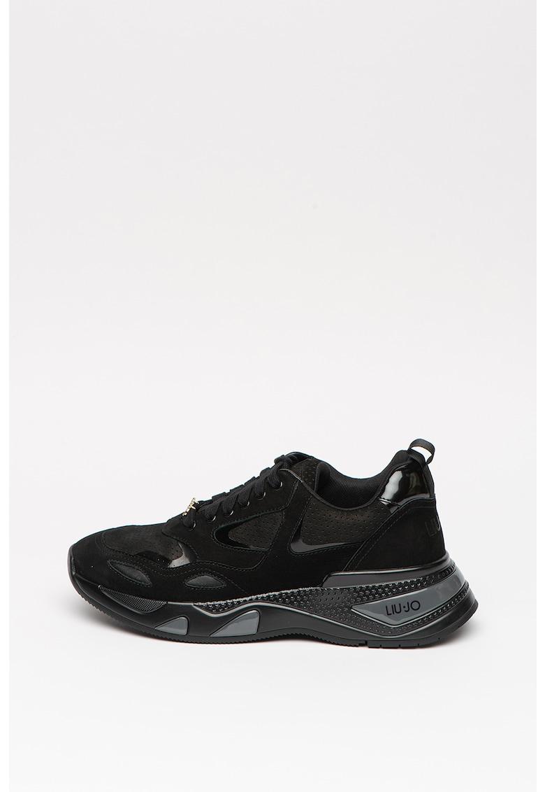 Pantofi sport de piele nabuc cu garnituri de piele ecologica lacuita Hoa