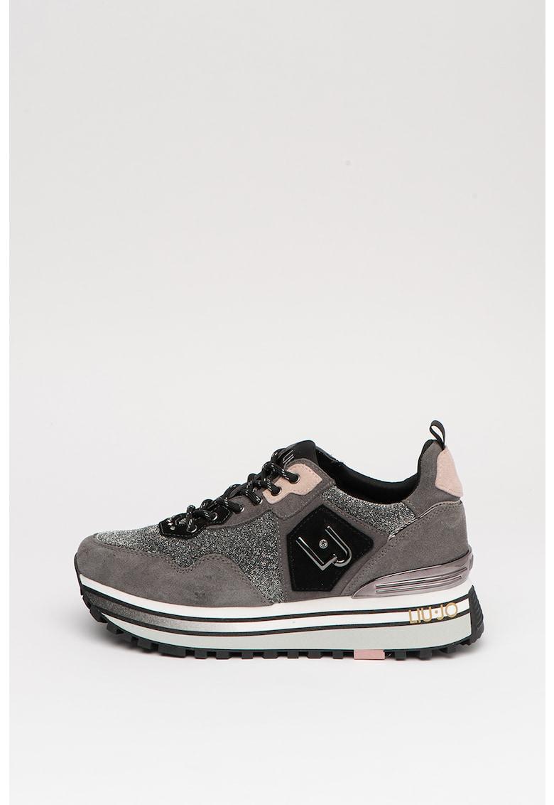 Pantofi sport de piele intoarsa cu detalii stralucitoare 1