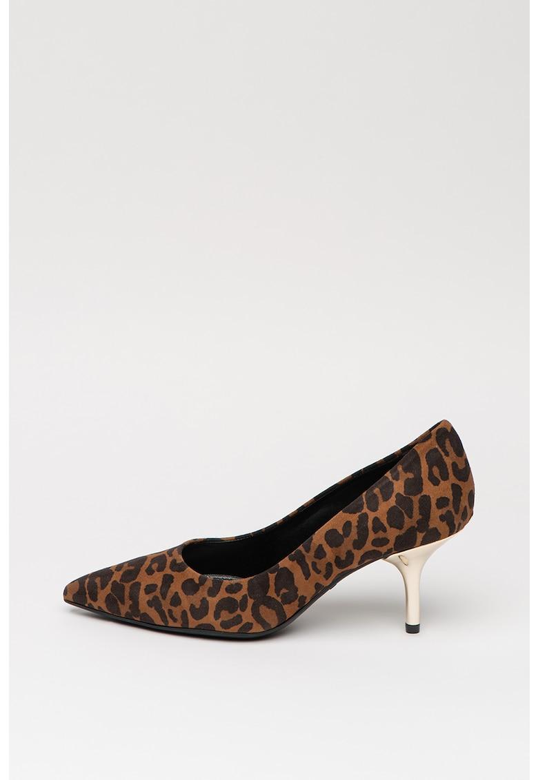 Pantofi de piele intoarsa cu animal print Hanna