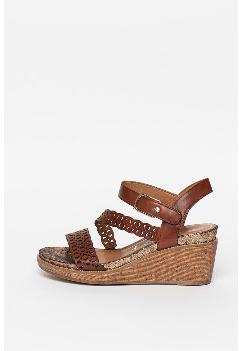 Sandale wedge de piele cu detalii perforate