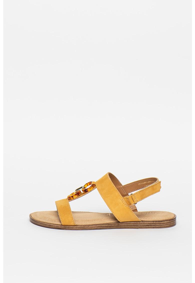 Sandale de piele intoarsa cu talpa plata