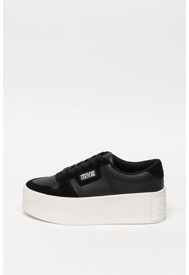 Pantofi sport flatform de piele si piele intoarsa 1