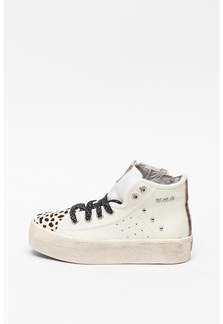 Pantofi sport inalti din piele cu insertii de piele cu par scurt Leger