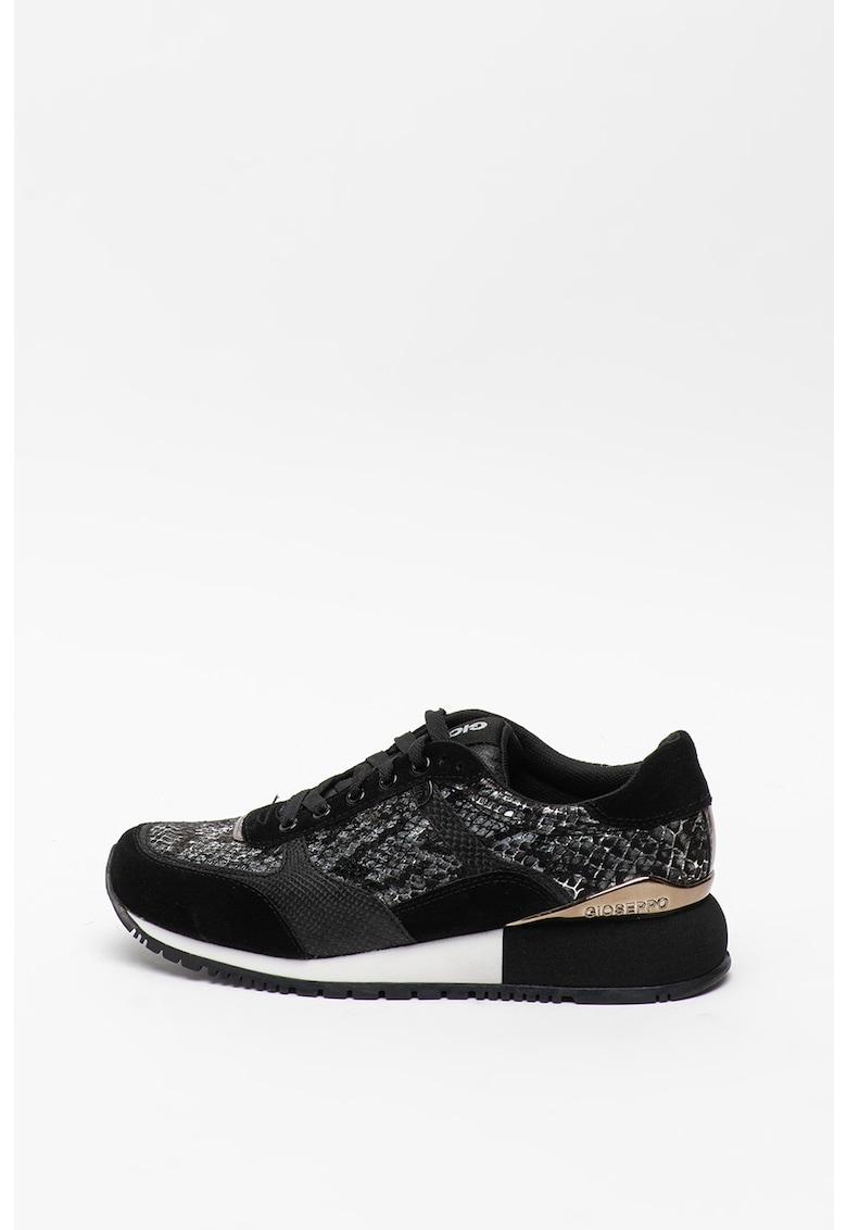 Pantofi sport din piele intoarsa si material textil cu aspect de piele de reptila Onhaye