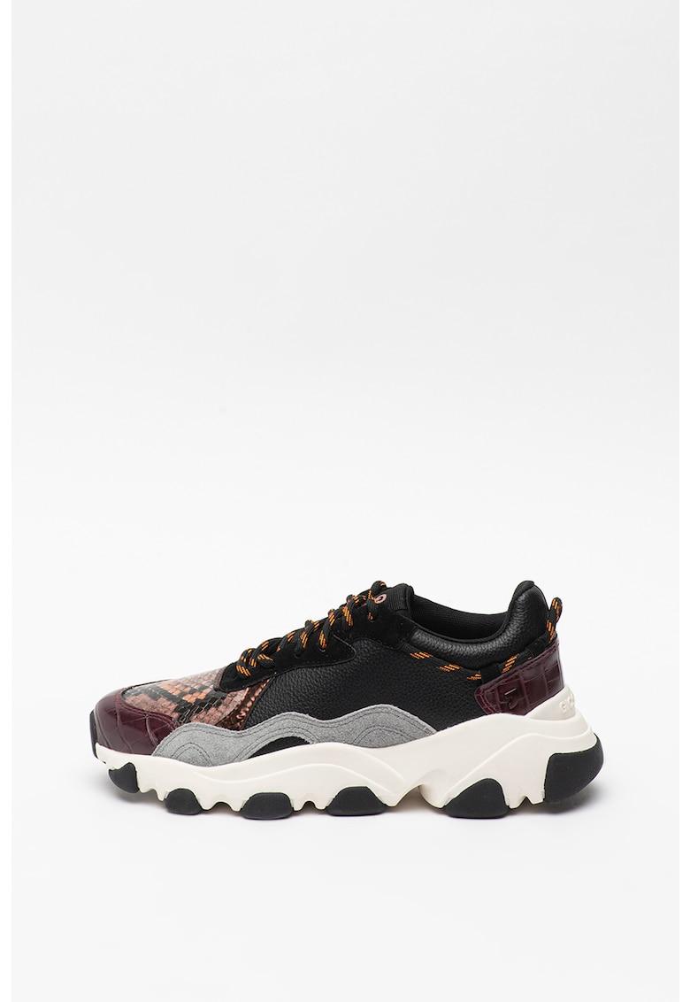 Pantofi sport din piele si piele intoarsa cu detalii cu model piele de sarpe