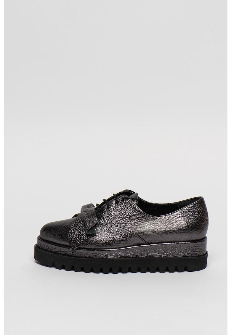 Pantofi flatform din piele cu aspect metalizat