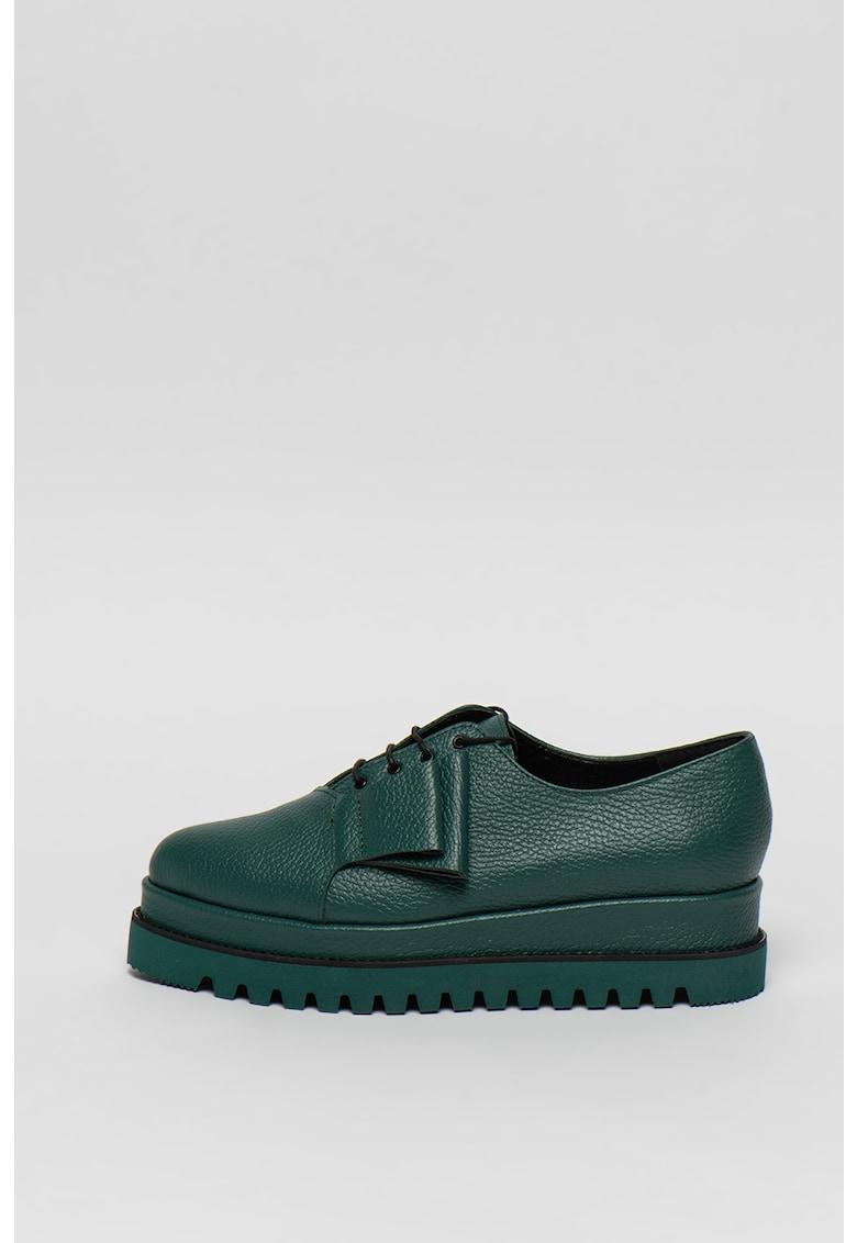 Pantofi flatform din piele cu varf ascutit