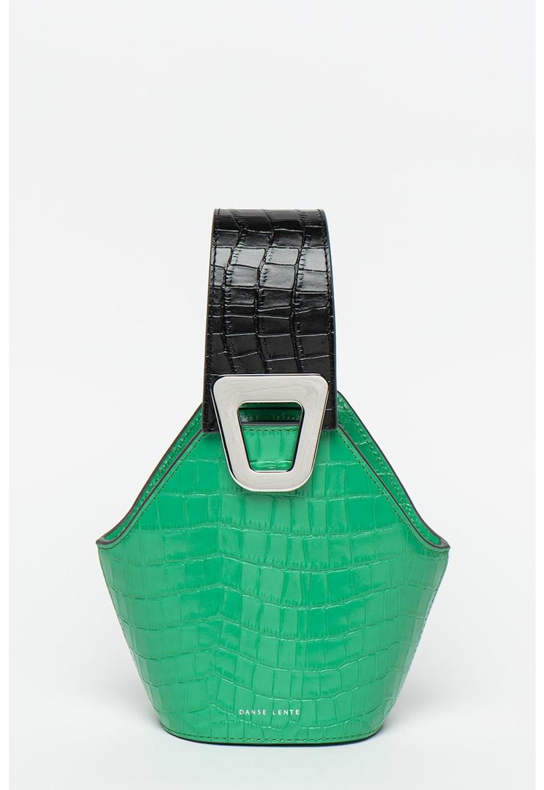 Geanta bucket de piele - cu model piele de reptila Embla