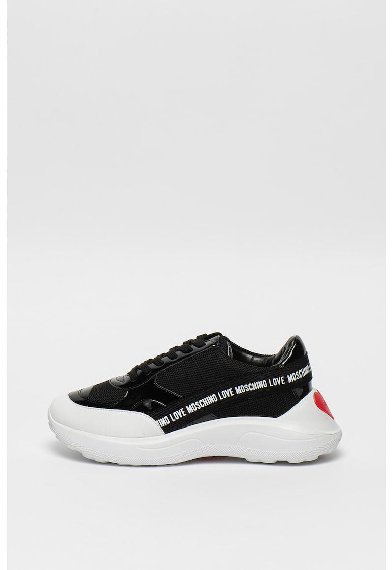 Pantofi sport din piele lacuita cu talpa wedge 1