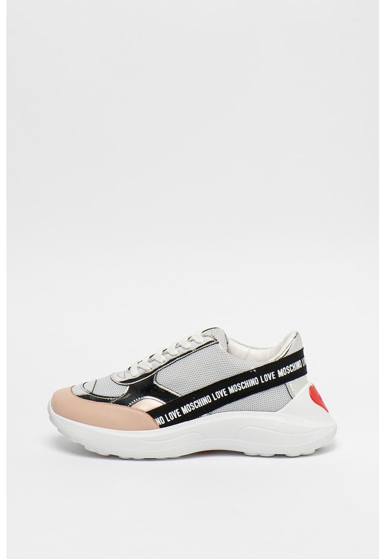 Pantofi sport din piele lacuita cu talpa wedge 3
