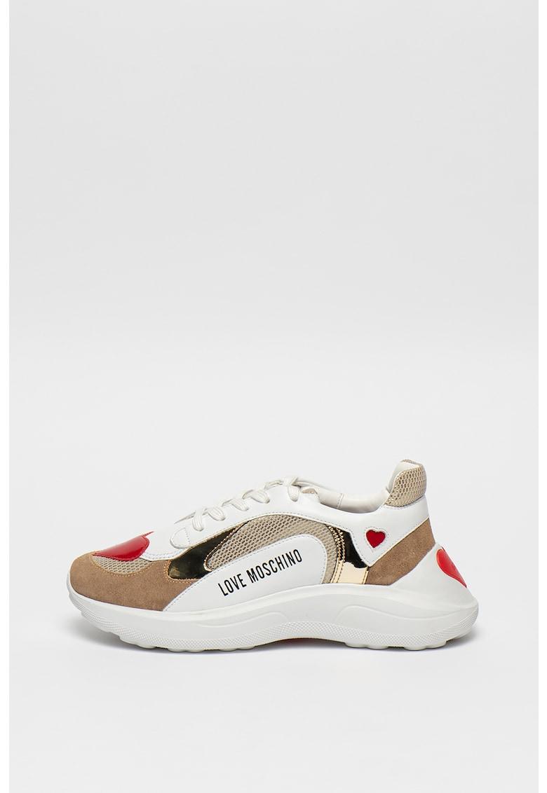 Pantofi sport din piele cu talpa wedge si insertii din piele nabuc