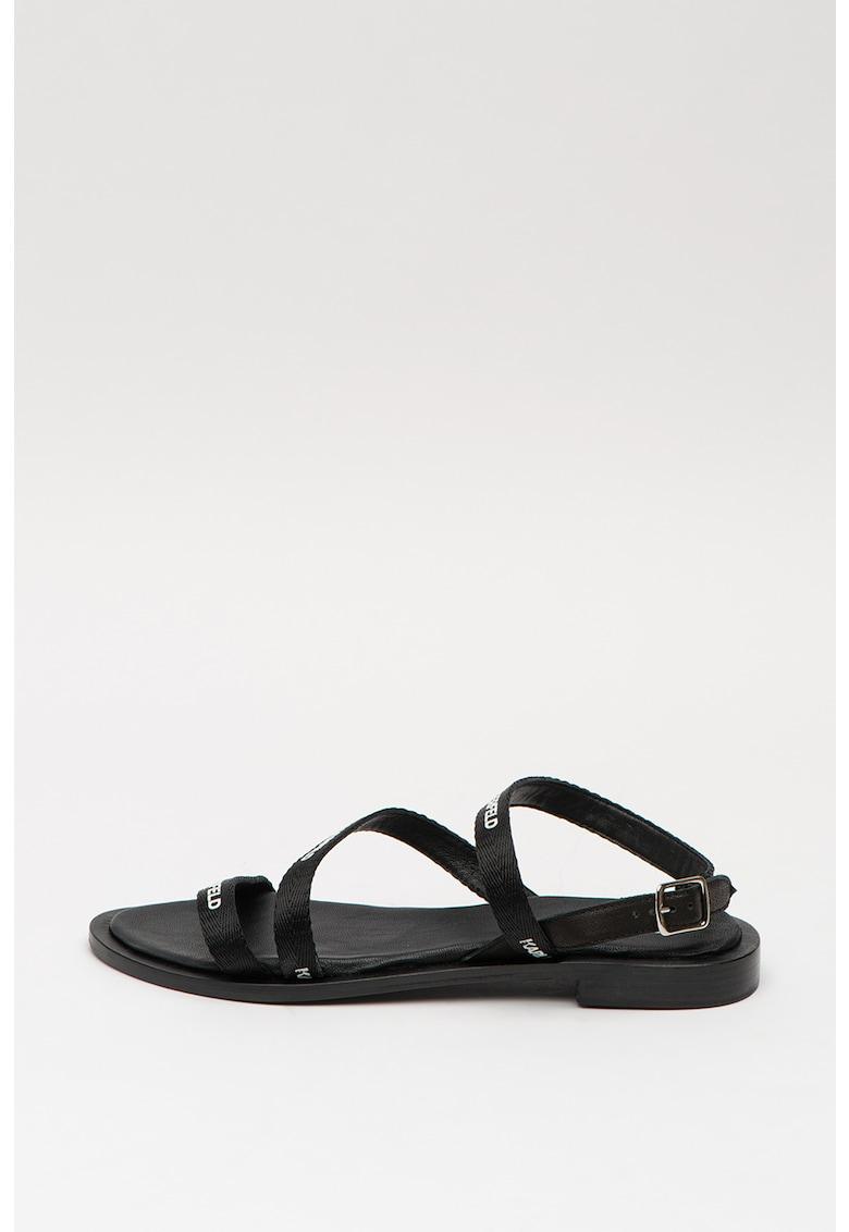 Sandale cu imprimeu logo si barete multiple Sarabande