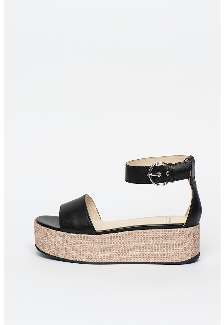 Sandale tip espadrile din piele - cu talpa wedge Felicia