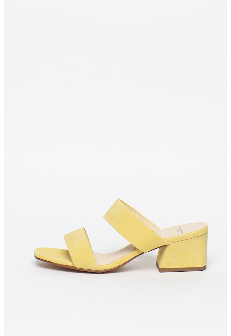 Papuci din piele intoarsa - cu toc Elena