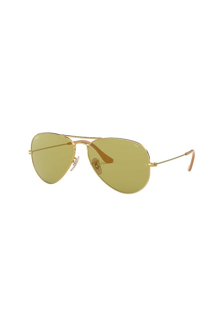 Ochelari de soare aviator cu lentile uni 2 poza fashiondays