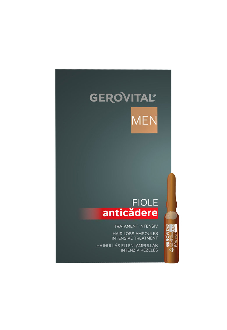 Gerovital Fiole anticadere  Men - tratament intensiv - 10 buc x 10 ml