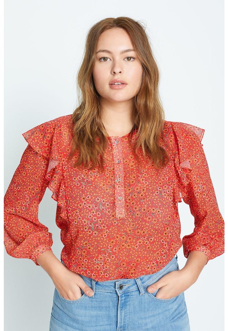 Bluza transparenta cu model floral Mara imagine
