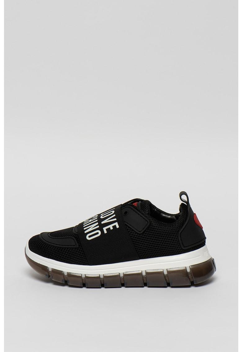 Pantofi sport slip-on de plasa - cu banda logo 1