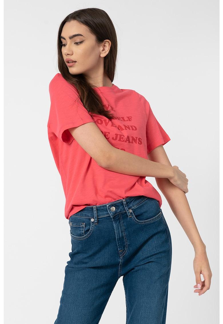 Tricou de bumbac cu imprimeu text Freja