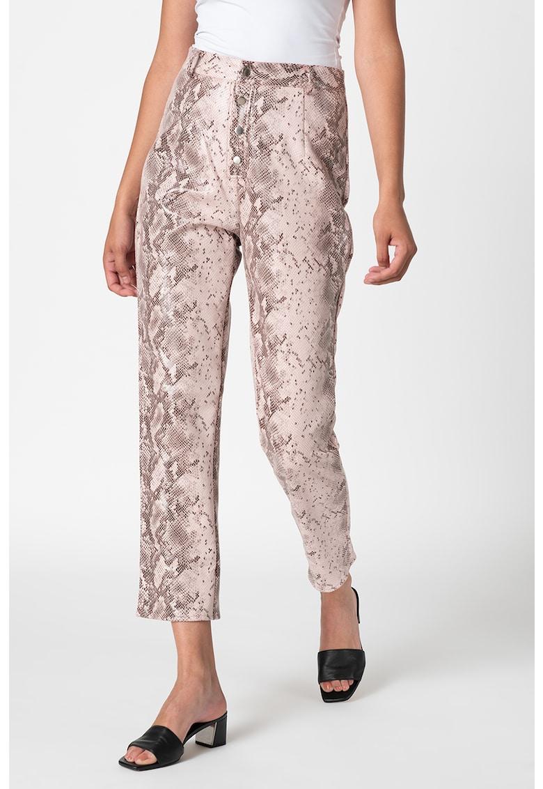 Pantaloni din piele ecologica cu model de piele de sarpe