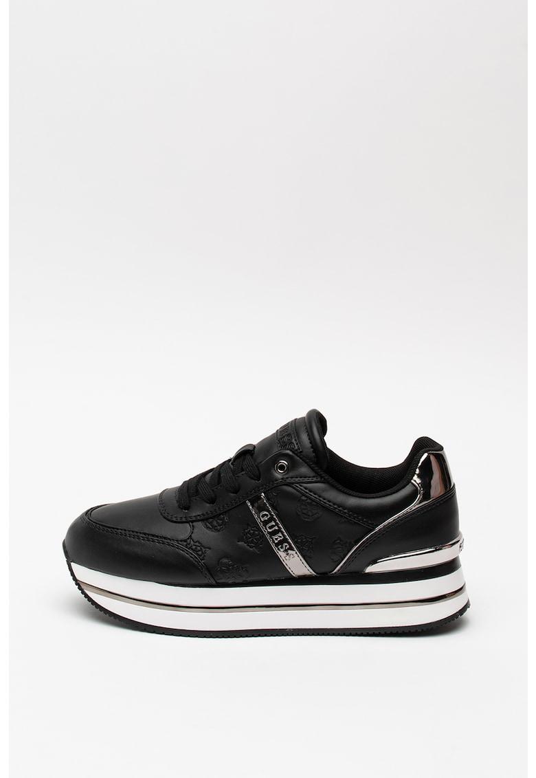 Pantofi sport de piele ecologica - cu model monograma 2