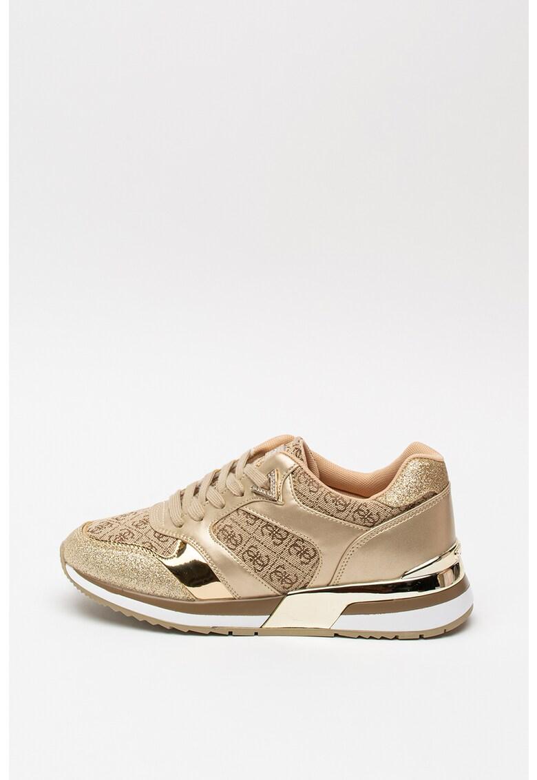 Pantofi sport cu imprimeu monograma si aspect stralucitor 1