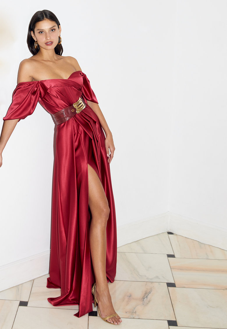 Rochie din matase cu slit lateral Amore