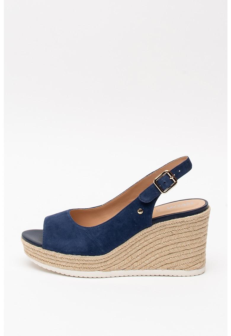 Sandale tip espadrile din piele intoarsa - cu talpa wedge Ponza