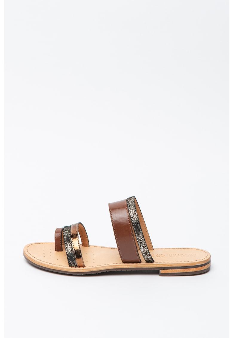 Papuci din piele si piele ecologica cu garnituri metalizate Sozy