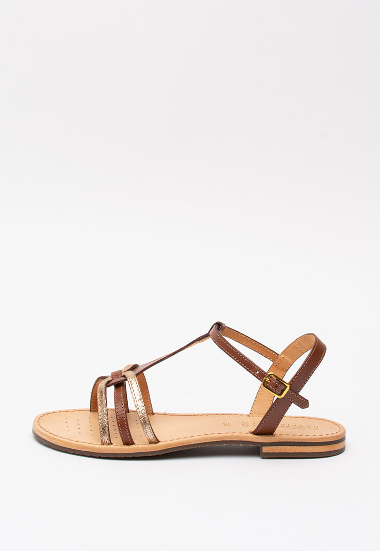 Sandale din piele si piele ecologica cu garnituri metalizate Sozy