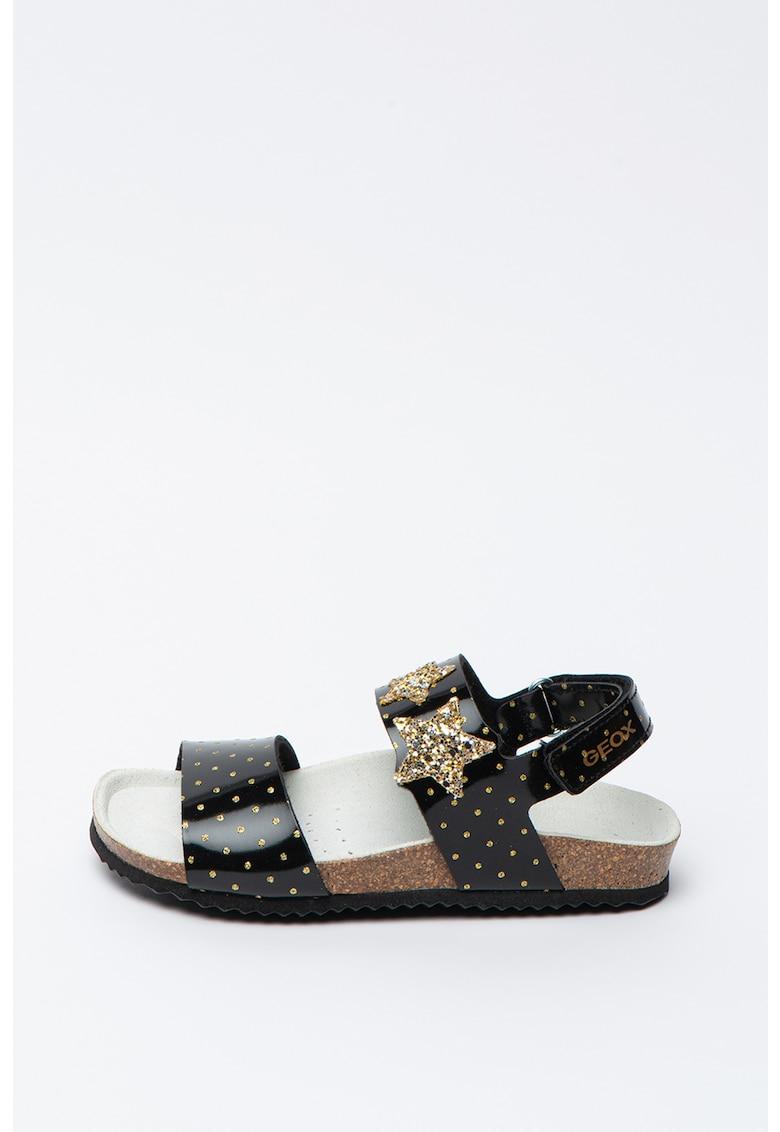 Sandale de piele ecologica cu aplicatii stralucitoare Adriel