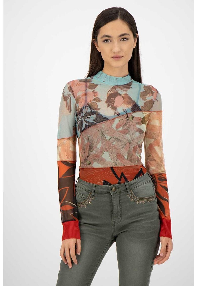 DESIGUAL Bluza slim fit cu model floral si aspect semi-transparent