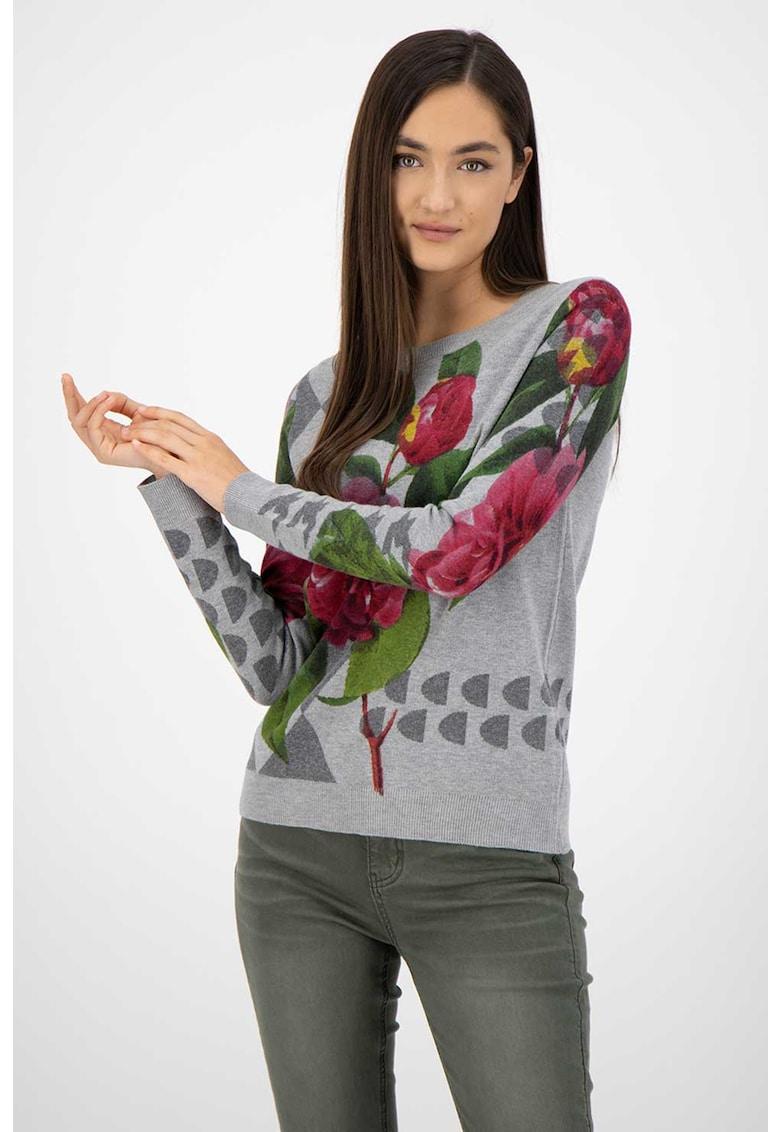 Pulover tricotat fin cu model floral imagine