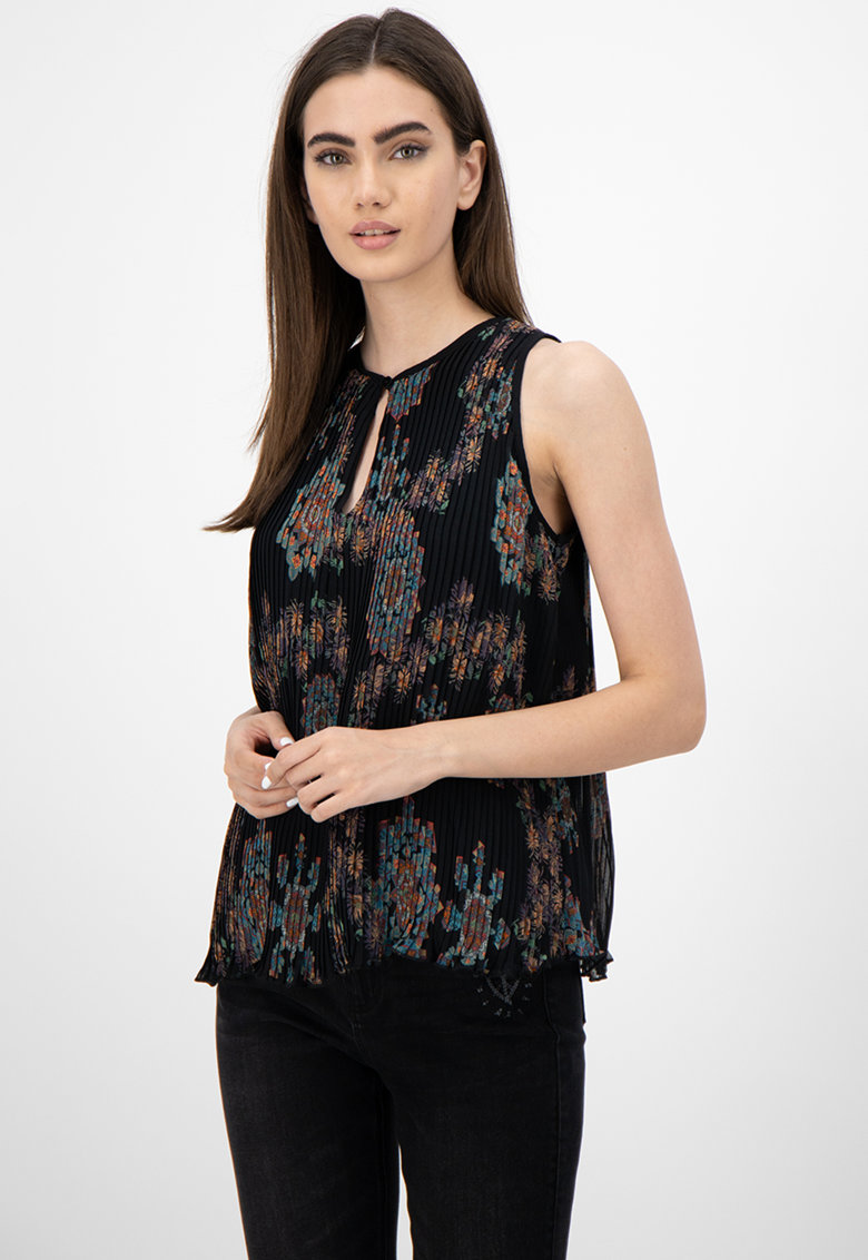 Bluza cu model floral si model plisat imagine