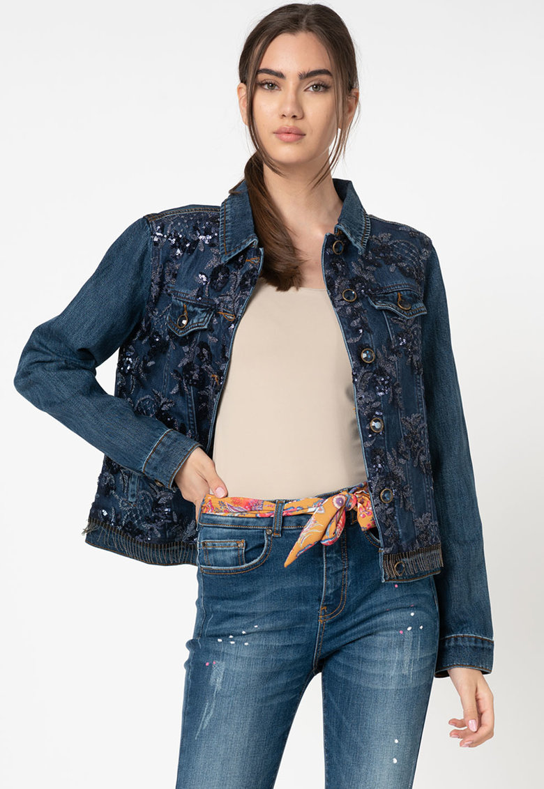 Jacheta de denim cu paiete