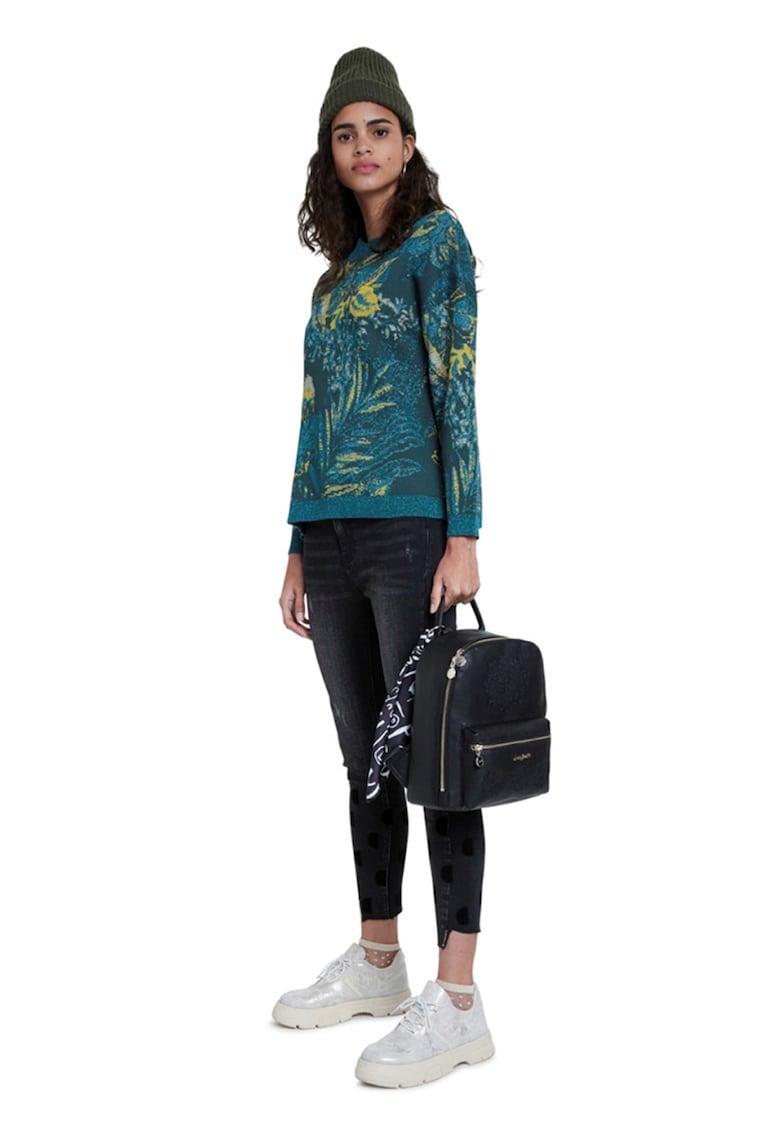 Pulover tricotat fin cu model tropical