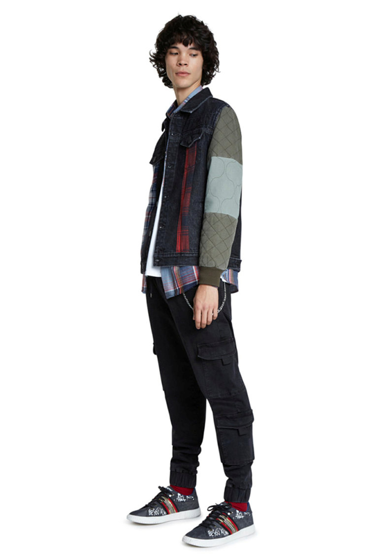 Jacheta din denim cu maneci contrastante