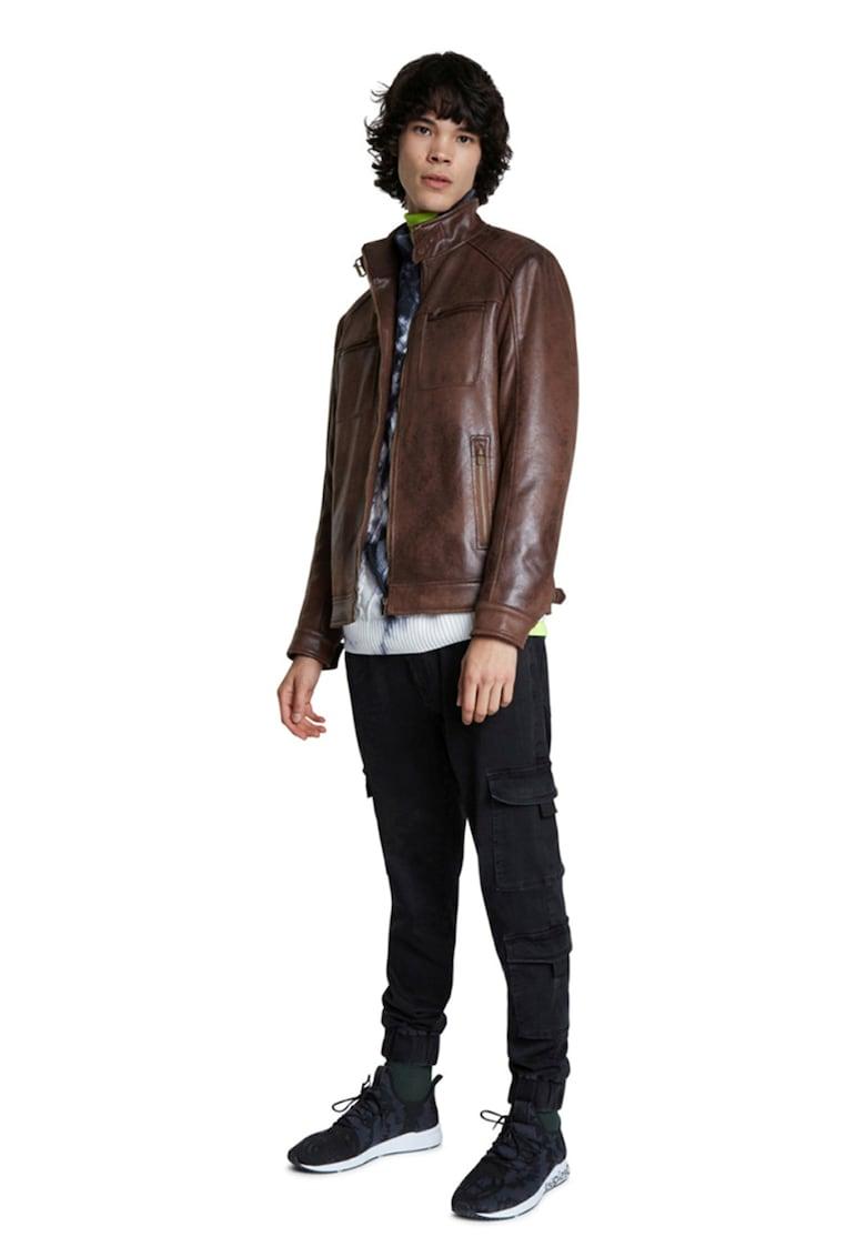 Jacheta de piele ecologica - cu buzunare cu fermoar