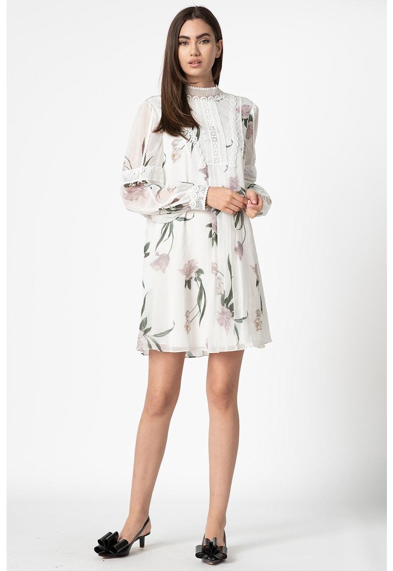 Rochie din sifon creponat cu imprimeu floral Leyora