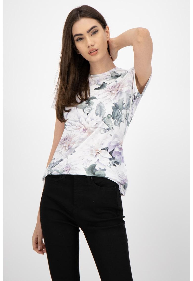 Tricou cu decolteu la baza gatului si model floral
