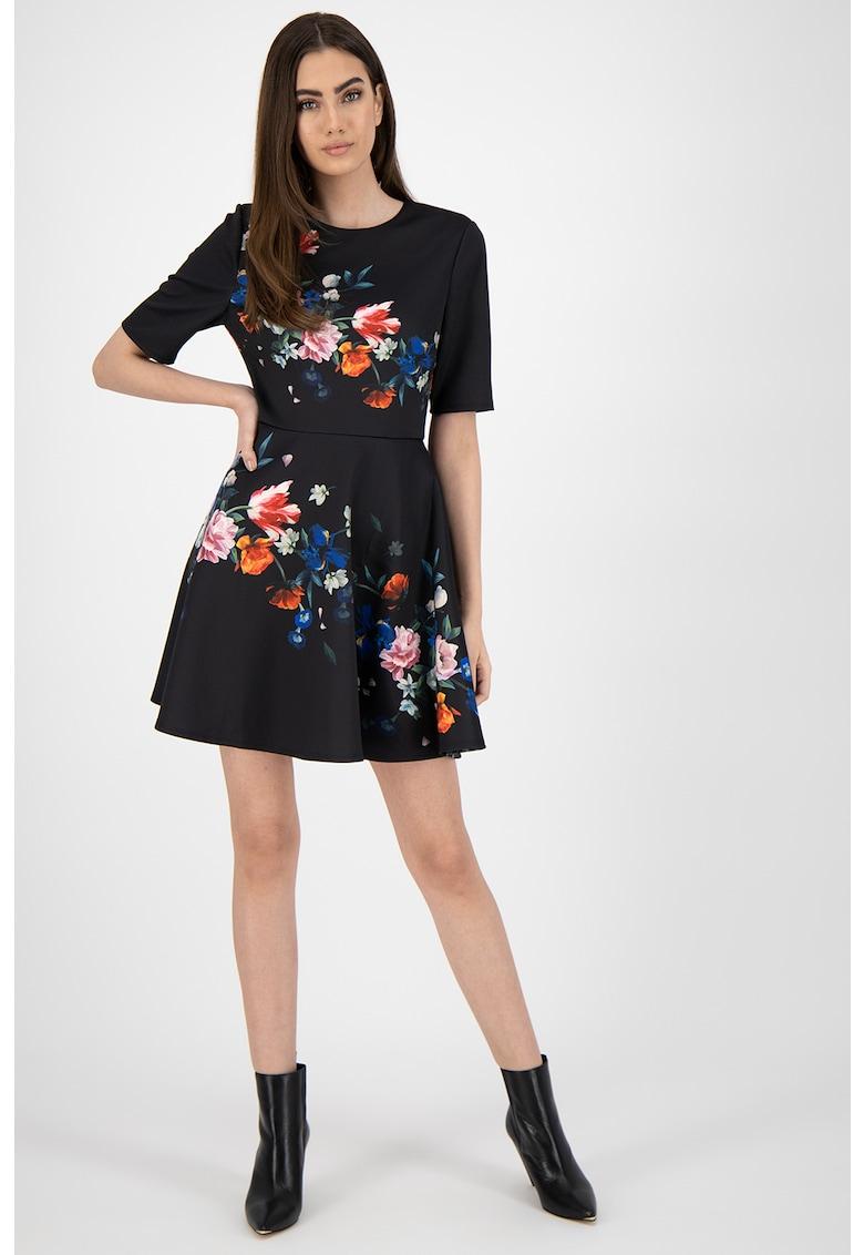 Rochie cu croiala pe bie si model floral