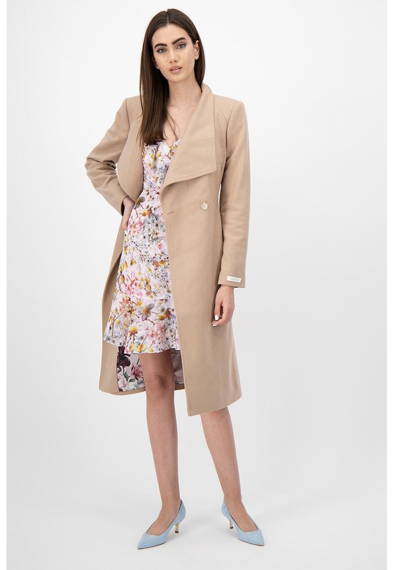 Palton din amestec de lana - cu cordon in talie