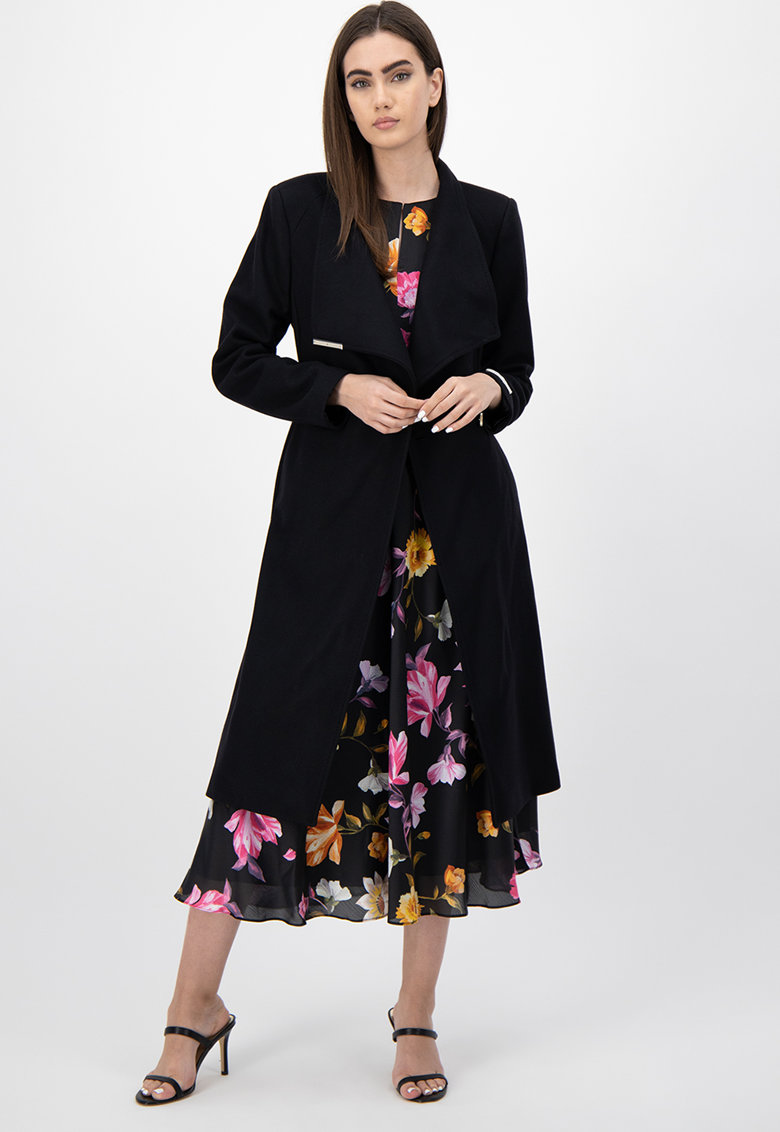 Palton din amestec de lana - cu crodon in talie