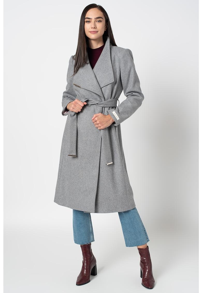 Palton din amestec de lana cu cordon Rose imagine