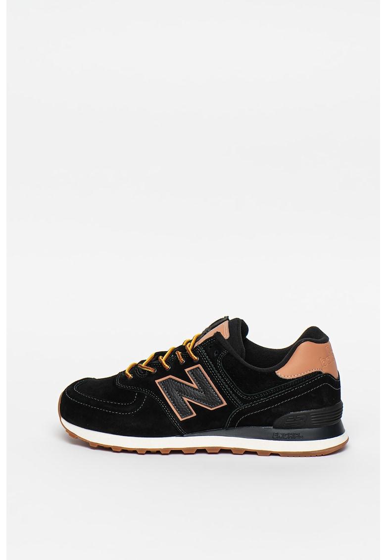 Pantofi sport de piele intoarsa cu aplicatie cu monograma 574 imagine