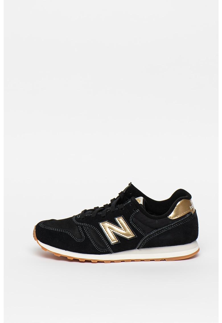 Pantofi sport de piele intoarsa cu garnituri metalizate 373 1