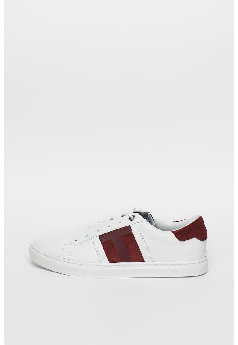 Pantofi sport din piele cu insertii din piele intoarsa Tenpal